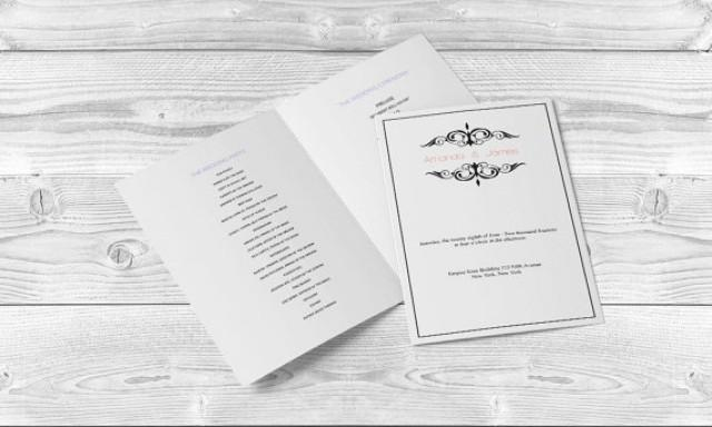 wedding photo - Wedding Program Templates - Editable PDF - 8.5 x 11 Printable Black Vintage Filigree Foldover Wedding Ceremony Program - DIY You Print