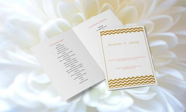 wedding photo - Wedding Program Templates - Editable PDF - 8.5 x 11 Gold Wave Chevron Foldover Wedding Ceremony Program - Instant Download - DIY You Print