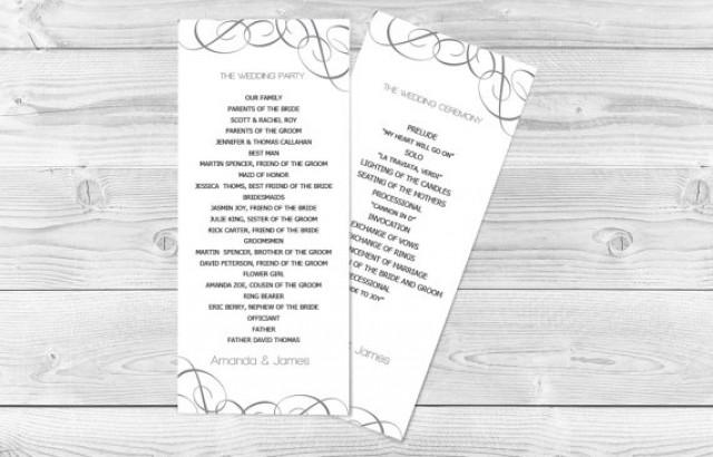 wedding photo - DIY Wedding Program Template - Grey Swirls Tea Length - Printable Ceremony Program - Instant Download - Adobe Reader Format - DIY You Print