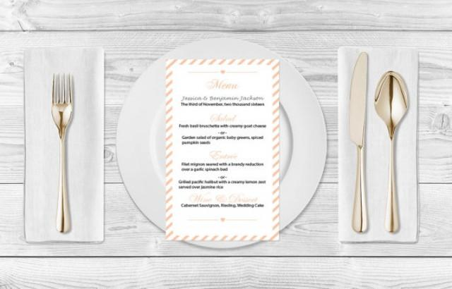 wedding photo - Wedding Menu Template - Dark Peach Carnival Stripes Printable Wedding Menu Card - Editable PDF Template - Instant Download - DIY You Print