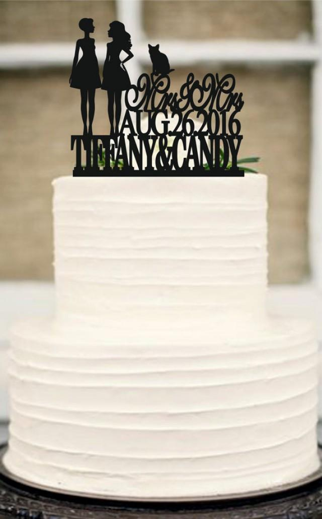 wedding photo - Same Sex Cake Topper,lesbian Cake Topper,Mrs and Mrs Wedding Cake Topper, Wedding Silhouette Couple Cake Topper with Cat