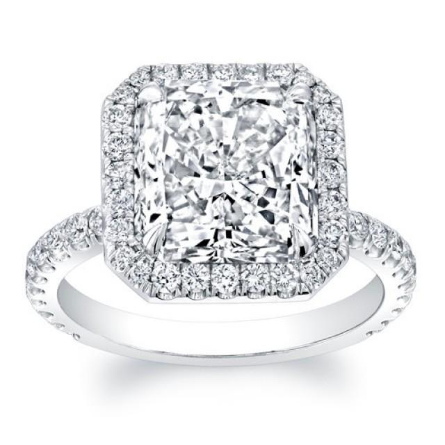 Women s 18kt White Gold Diamond Halo Engagement Ring With 2ct Princess Cu