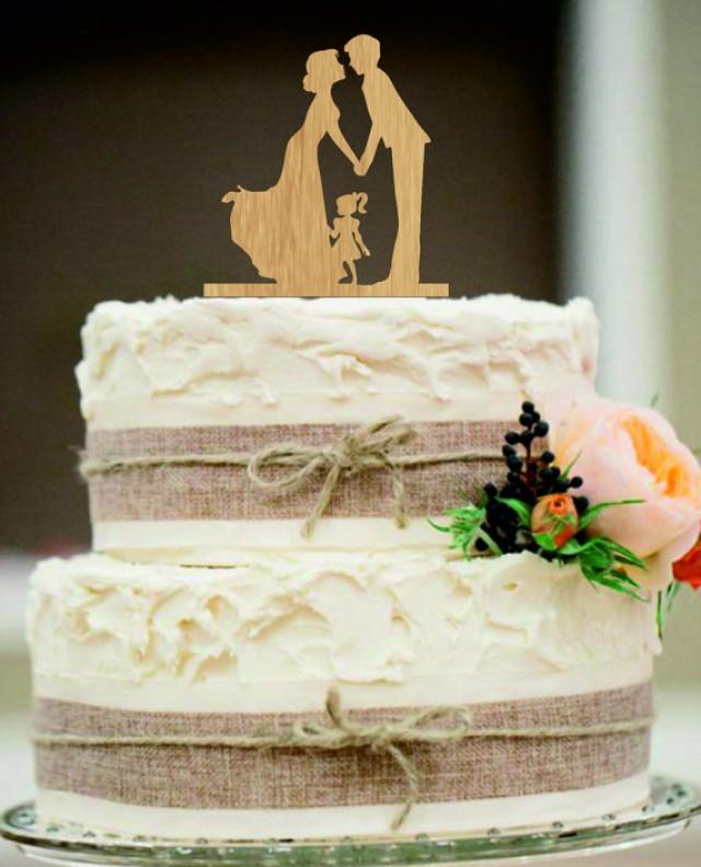 wedding photo - family Wedding Cake Topper,Bride and Groom with little girl silhouette,Unique wedding cake topper,initial wedding cake topper,anniversary