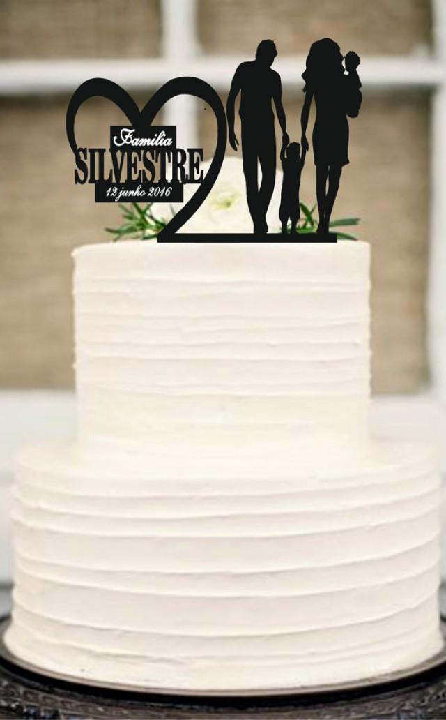 wedding photo - Bride and Groom little boys family wedding cake topper,unique wedding cake topper,Silhouette Wedding Cake Topper,Anniversary Cake Topper