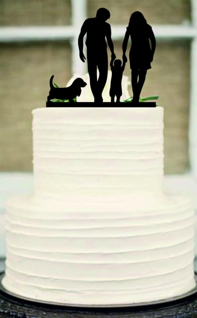 wedding photo - Silhouette Wedding Cake Topper, funny Wedding Cake Topper,Bride and Groom and little boy a dog family wedding cake topper,Rustic cake topper