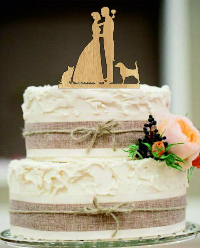 wedding photo - bride and groom silhouette wedding cake topper,funny cake topper,rustic wedding cake topper,unique wedding cake topper,cat, dog cake topper