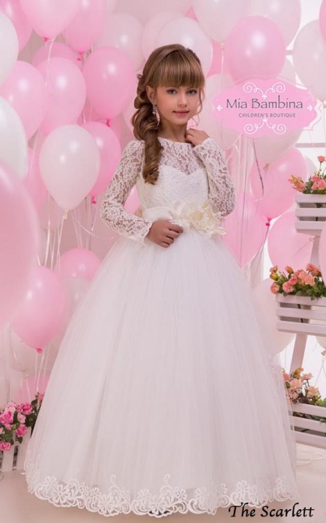 4aae3b8e2b45 Lace Flower Girl Dress Long sleeve First Communion Dress