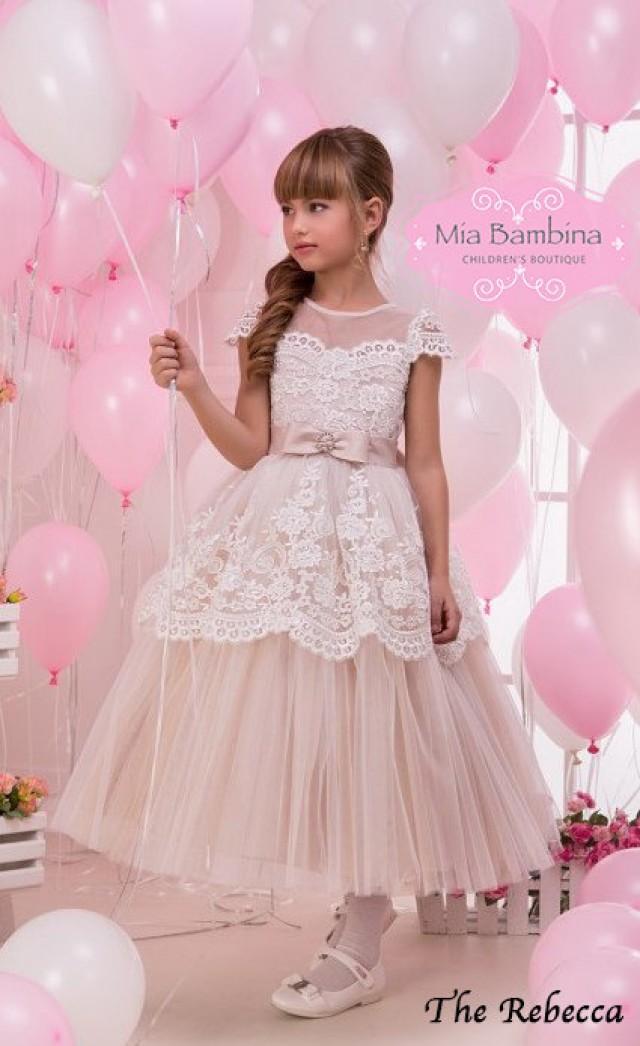 b7ec5a9e75 Champagne Flower Girl Dress First Communion Dress