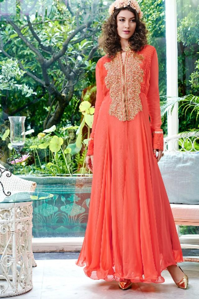 wedding photo - Peach pure georgette floor length comely gown with chinese collar