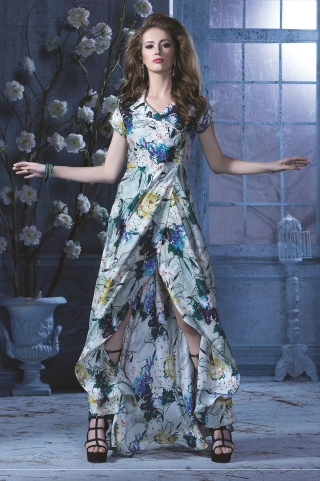 wedding photo - Grey multicoloured raw silk & soft cotton silk charming gown
