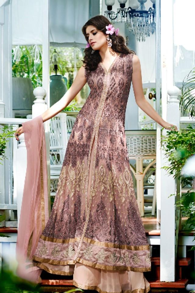 wedding photo - Mauve copper floor length sleeveless net & satin silk ravishing gown