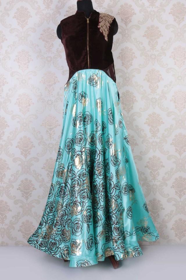 wedding photo - Brown & blue velvet & satin silk sleeveless embroidered gown