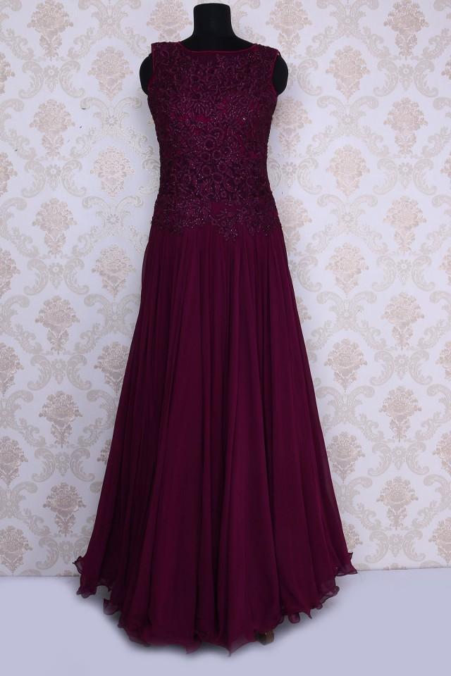 wedding photo - Dark purple alluring thread work and georgette embellished gown