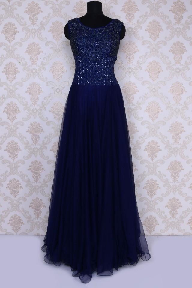 wedding photo - Navy blue amazing sequins worked floor length net gown