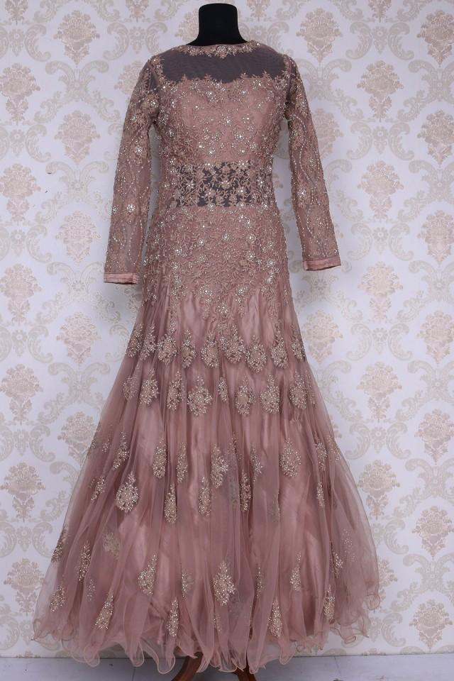 wedding photo - Light brown floor length stylish net gown