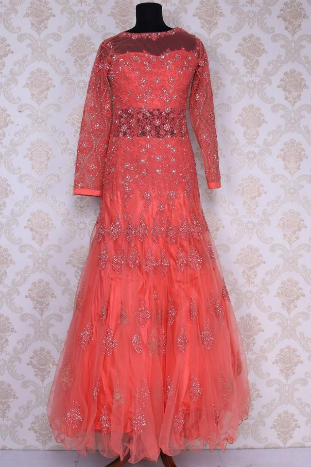 wedding photo - Peach net angelic floor length gown with closed round neck