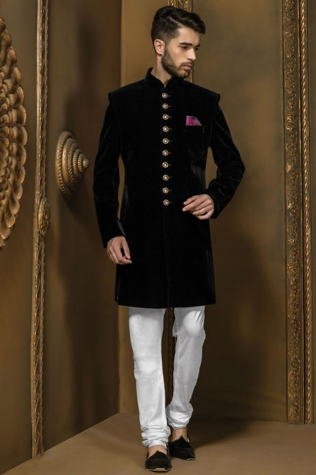 wedding photo - Jet black velvet sophisticated jodhpuri bandh gala sherwani