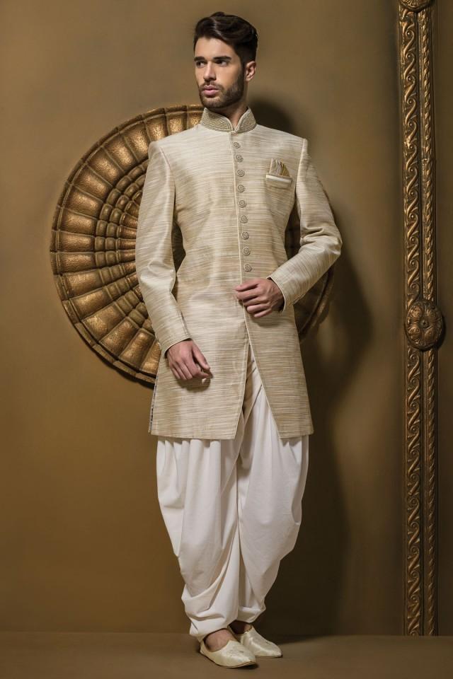 wedding photo - Brown & cream jute silk resplendent jodhpuri sherwani
