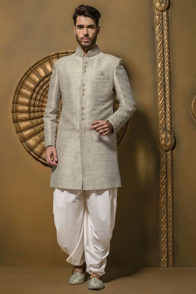 wedding photo - Metallic light grey admirable jute silk jodhpuri sherwani