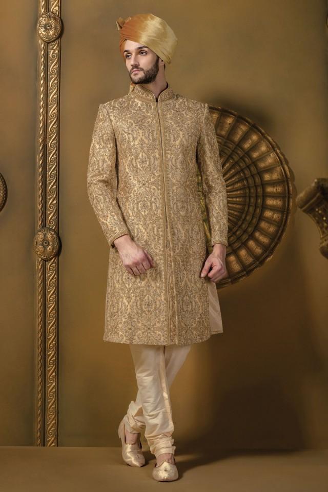 wedding photo - Beige & gold silk jodhpuri stunning sherwani