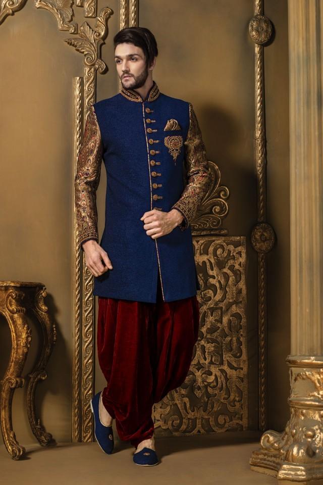 wedding photo - Ink blue multicoloured jute & brocade bewitching sherwani