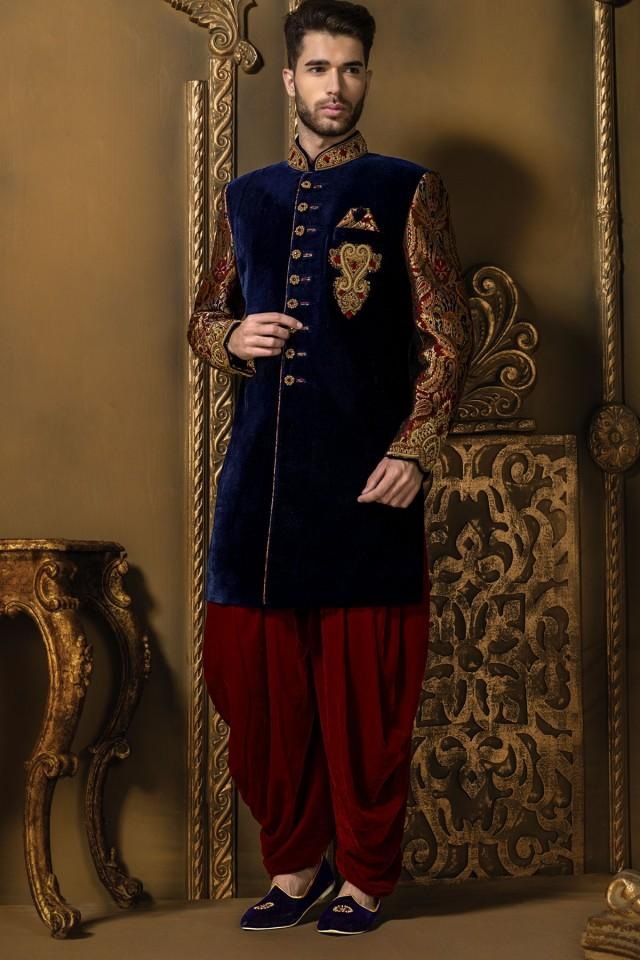 wedding photo - Navy blue multicoloured velvet & brocade excellent sherwani