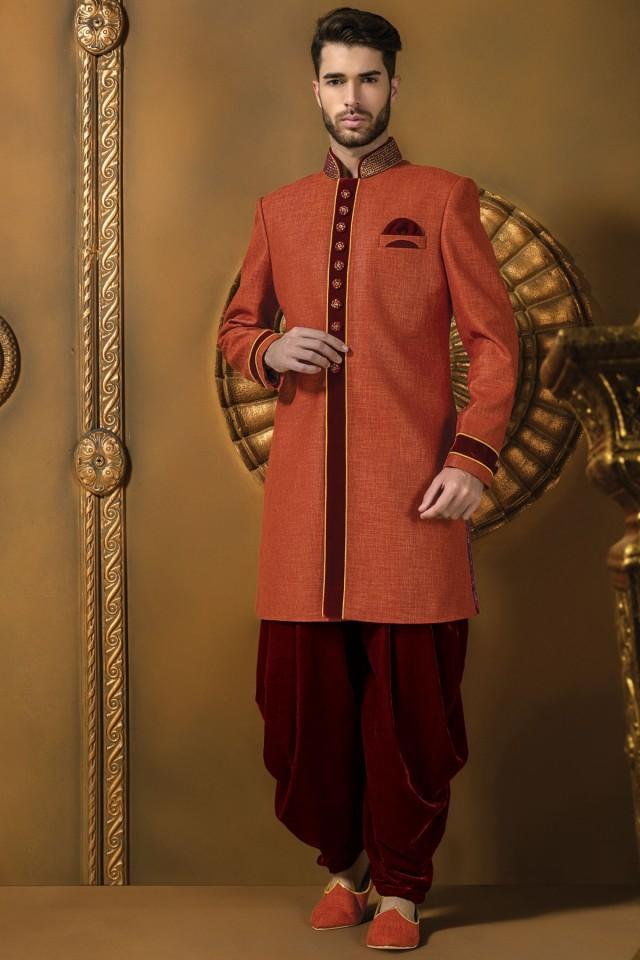 wedding photo - Peach jute silk radiant sherwani with maroon dhoti pants