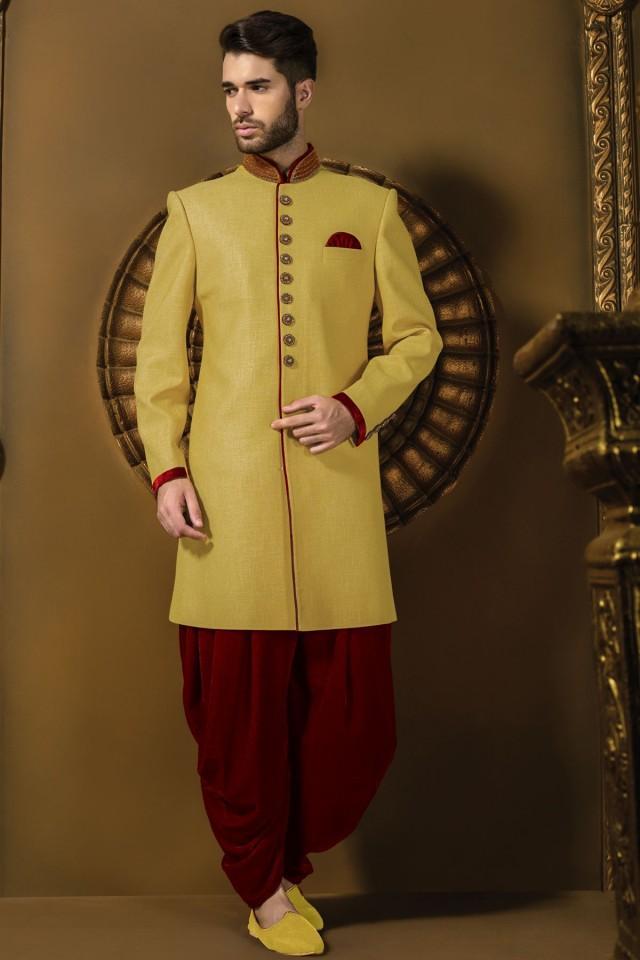 wedding photo - Lemon yellow jute silk jodhpuri alluring sherwani with bright red dhoti pants