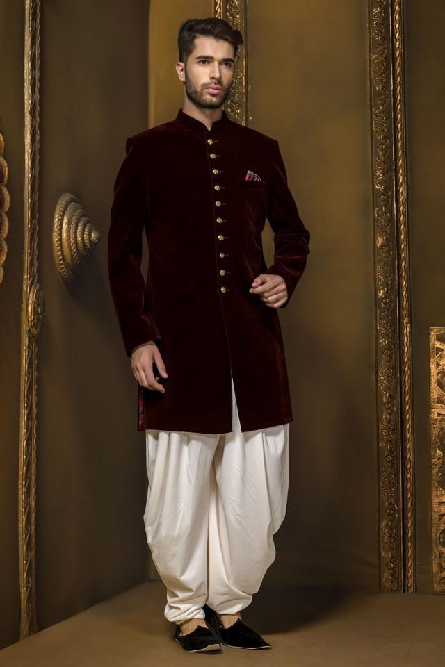 wedding photo - Dark maroon velvet ethereal jodhpuri sherwani
