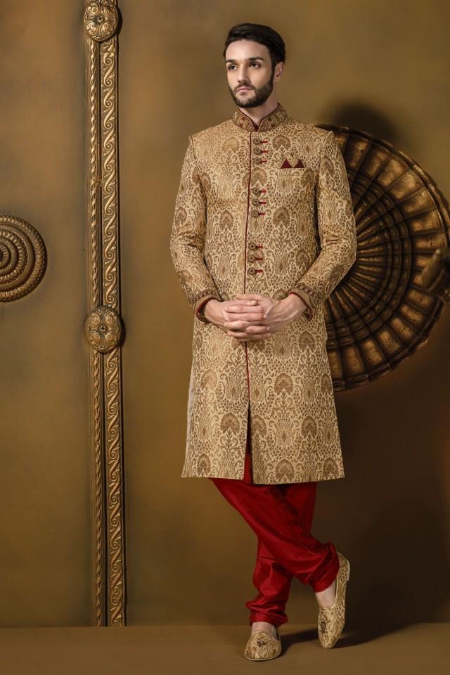 wedding photo - Beige brocade alluring jodhpuri sherwani