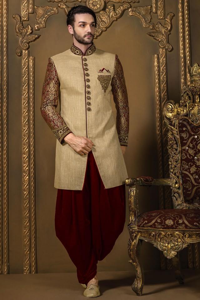 wedding photo - Creamish gold & maroon jute silk & brocade badh gala sherwani