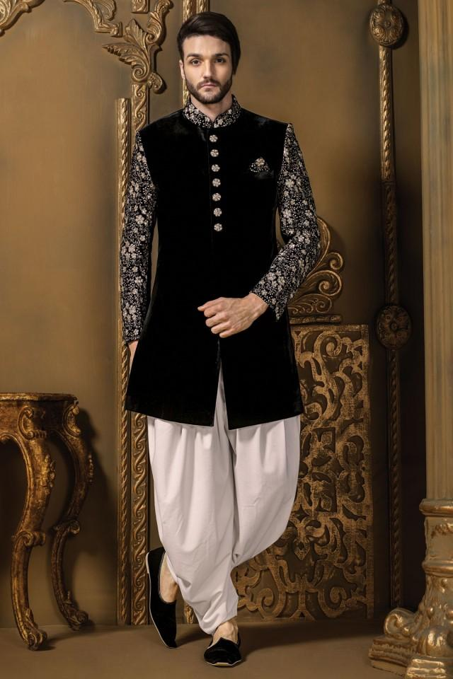 wedding photo - Black & silver velvet ravishing sherwani with pearl white cotton silk dhoothi