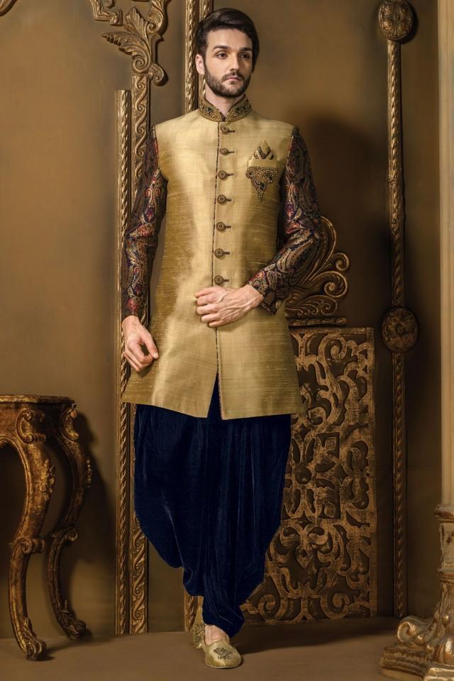 wedding photo - Gold multicoloured raw silk & brocade fashionable sherwani