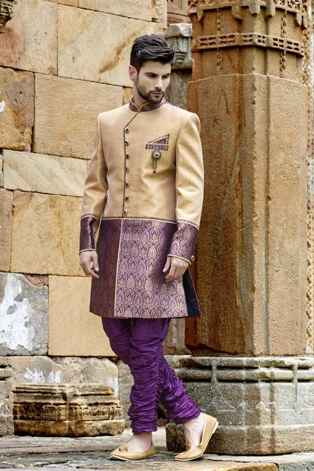 wedding photo - Gold & purple khinkwab & banarasi silk ethereal jodhpuri Sherwani