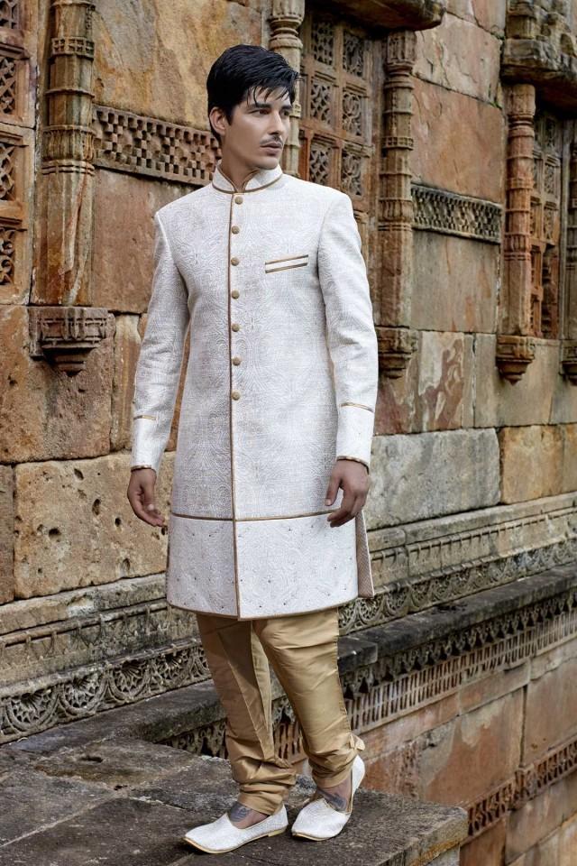 wedding photo - Off white & silver khinkwab magnificent jodhpuri bandh gala sherwani