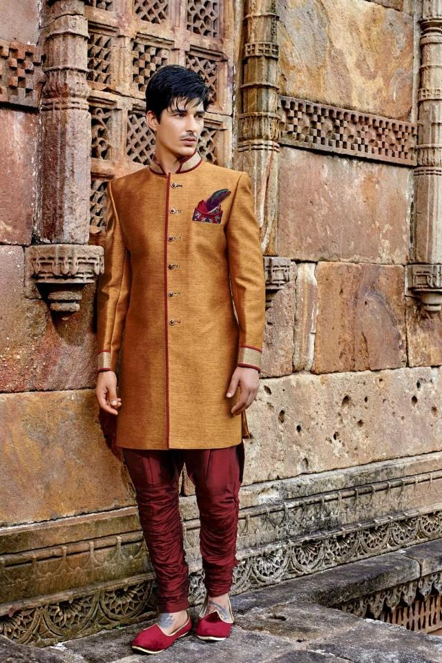 wedding photo - Golden mustard banarasi silk dazzling jodhpuri bandh gala sherwani