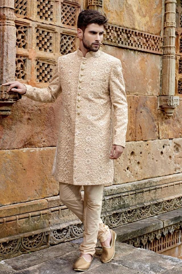 wedding photo - Light cream banarasi ravishing jodhpuri bandh gala sherwani