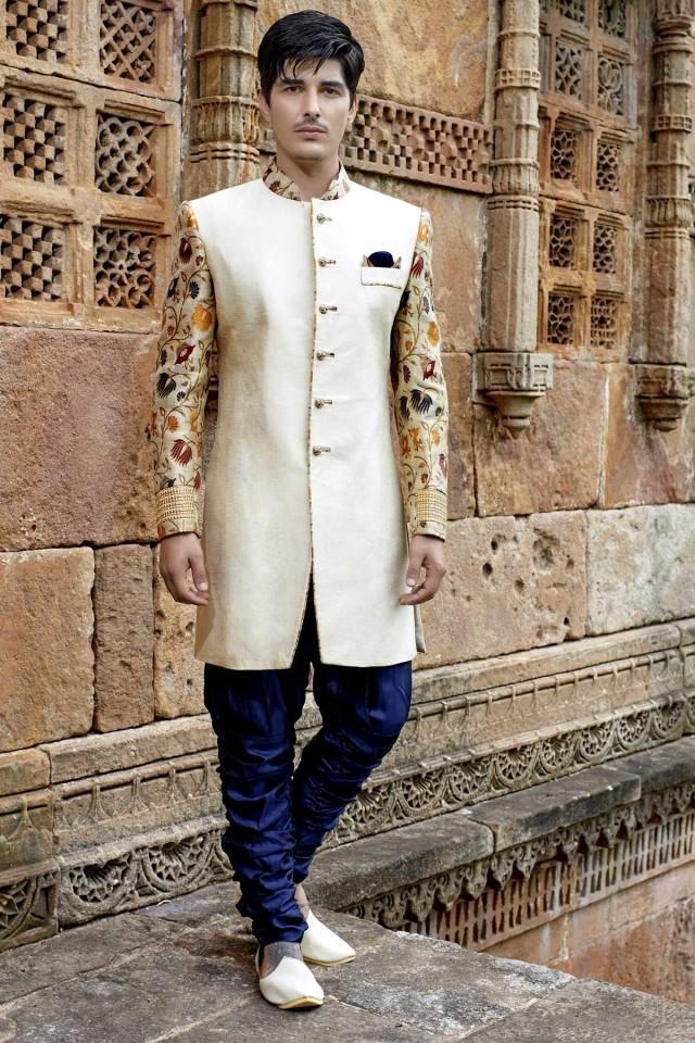 wedding photo - Light cream multicoloured banarasi silk & khinkwab jodhpuri sherwani-