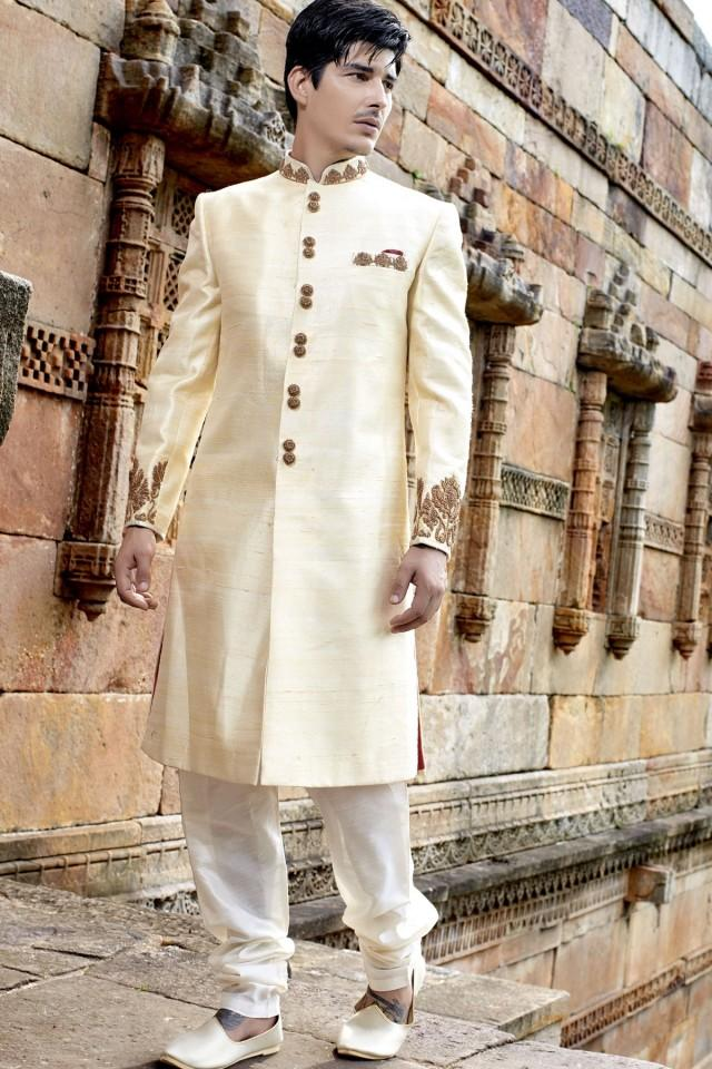 wedding photo - Cream & gold banarasi silk stunning jodhpuri bandh gala sherwani
