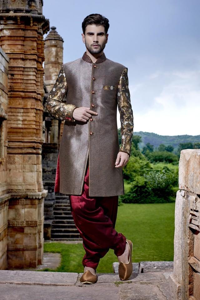 wedding photo - Metallic steel grey multicoloured banarasi silk & brocade jodpuri bandh gala sherwani