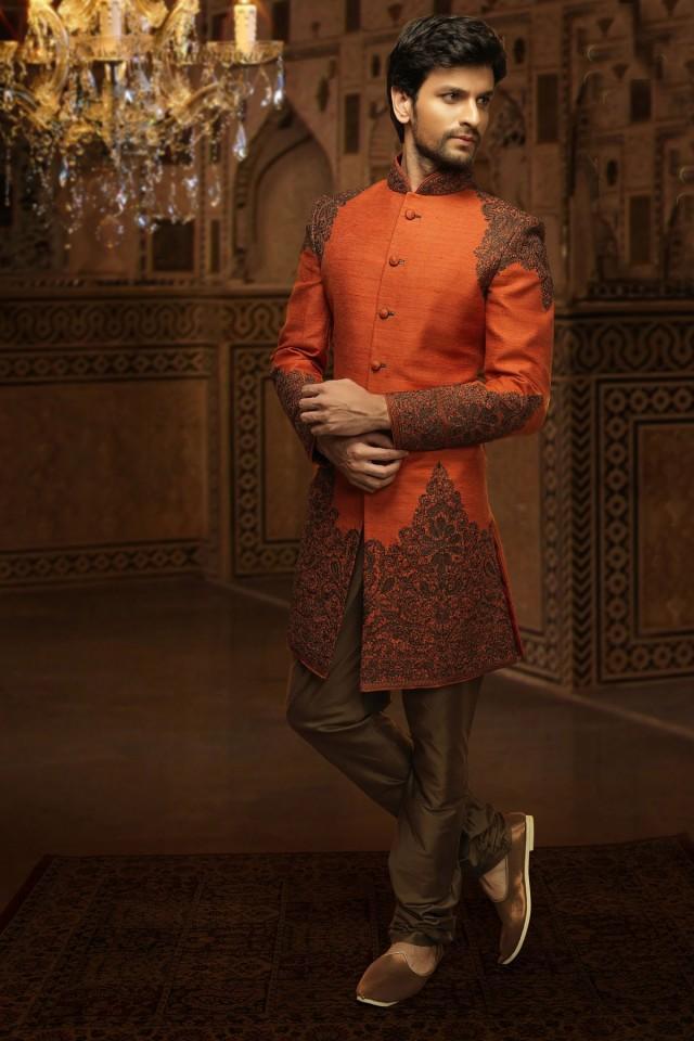wedding photo - Orange jute plush indo western sherwani with standing collar