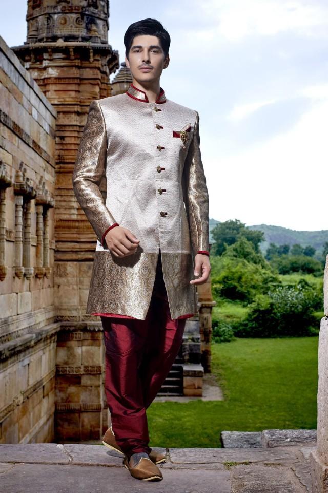 wedding photo - Antique gold & silver with maroon khinkwab & banarasi silk jodhpuri bandh gala sherwani