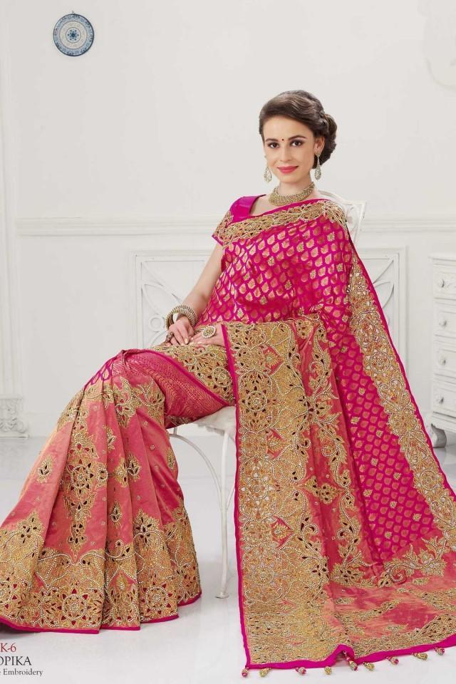 wedding photo - Pink pure silk zari weaved marvellous saree with gold border