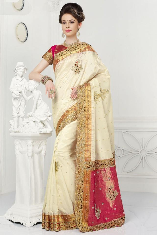 wedding photo - Off white pure silk beauteous saree with gold border
