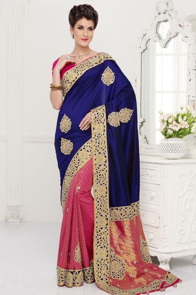 wedding photo - Blue pure silk zari weaved & stone embroidered saree with gold border