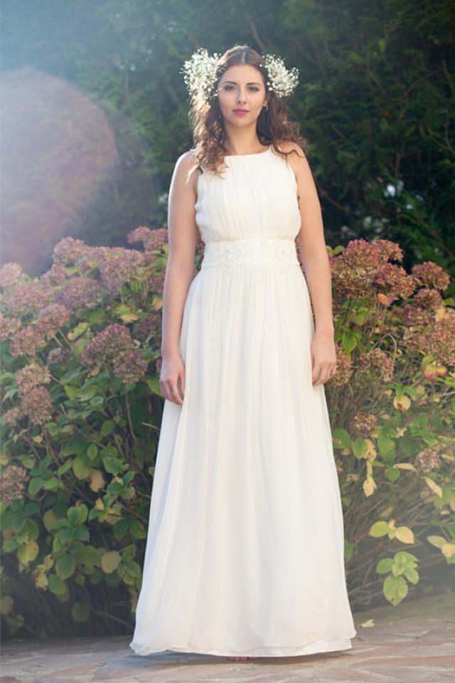 ... Empire Chiffon Wedding Dress/ Boho Hochzeitskleid/ Robe De Mariée