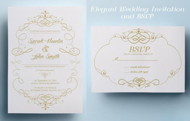 Elegant Wedding Invitation Design: Elegant Wedding Invitation Template, Classic Wedding