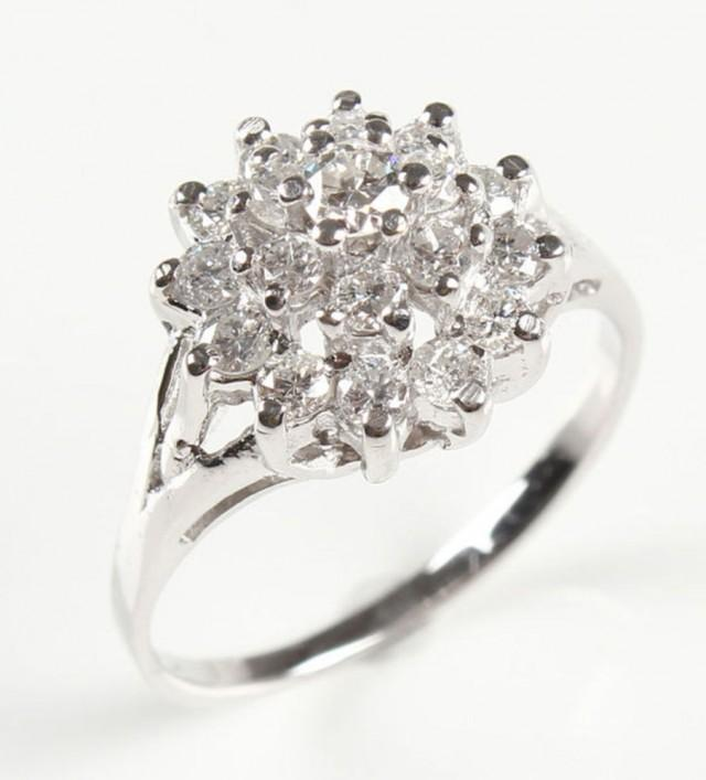 vintage engagement ring solitaire 14k white gold