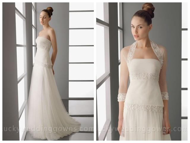 wedding photo - Chic Full A-line Skirt Wedding Dress with Tiered Bodice