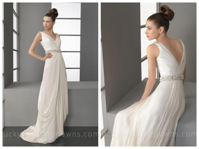 wedding photo - V-Neck Full Satin Summer Bridal Gown with Beaded Sash
